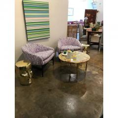 Philippe Starck Pair of Lacquered Gold Bronze Face Stools or Side Tables - 341876