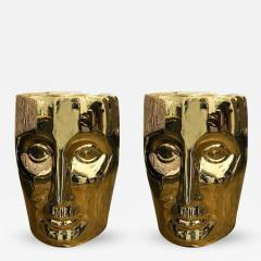 Philippe Starck Pair of Lacquered Gold Bronze Face Stools or Side Tables - 341881
