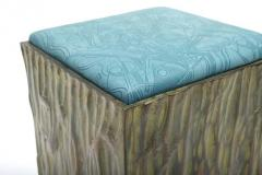 Phillip Lloyd Powell Phillip Lloyd Powell Painted Hand Carved Stools with Abstract Patterned Textile - 531751