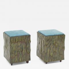 Phillip Lloyd Powell Phillip Lloyd Powell Painted Hand Carved Stools with Abstract Patterned Textile - 532407