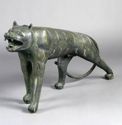 Phyllis Morris Pair of Phyllis Morris Lifesize Bronze Jungle Cat Sculptures USA c 1970s - 72554
