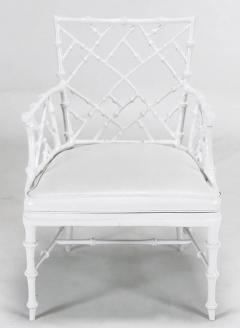 Phyllis Morris Six Phyllis Morris Cast Aluminum White Lacquer Chinese  Chippendale Dining Chairs   272791