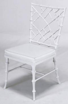 Phyllis Morris Six Phyllis Morris Cast Aluminum White Lacquer Chinese  Chippendale Dining Chairs   272794