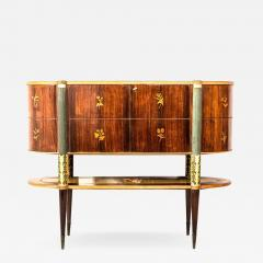 Pier Luigi Colli Italian Midcentury Oval Shaped Rare Bar Cabinet or Sideboard by Pierluigi Colli - 1703322