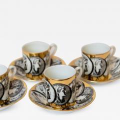Piero Fornasetti 1950s Piero Fornasetti Cammei Espresso Cups and Saucers - 1090888