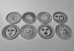Piero Fornasetti Complete Set of Eight Soli e Lune Drinks Coasters by Fornasetti Italy - 1401491