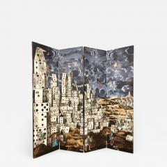 Piero Fornasetti Folding Screen Citta di Carte by Piero Fornasetti - 881352