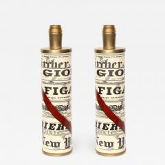 Piero Fornasetti Pair of News Paper lamps by Piero fornasetti - 854417