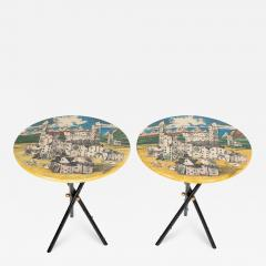 Piero Fornasetti Pair of rare Piero Fornasetti Citt di Carte side tables circa 1950s - 1136414