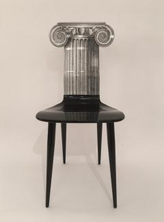 Piero Fornasetti Piero Fornasetti Capitello Ionico Chair in Black and White Italy circa 2006 - 1401419