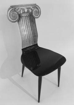 Piero Fornasetti Piero Fornasetti Capitello Ionico Chair in Black and White Italy circa 2006 - 1401421
