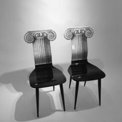 Piero Fornasetti Piero Fornasetti Capitello Ionico Chair in Black and White Italy circa 2006 - 1401434