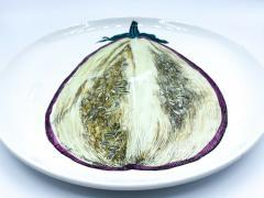 Piero Fornasetti Piero Fornasetti Pair of Sezioni Di Frutta Eggplant Apple Plates Nos 6 7  - 1614332