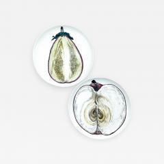 Piero Fornasetti Piero Fornasetti Pair of Sezioni Di Frutta Eggplant Apple Plates Nos 6 7  - 1618369
