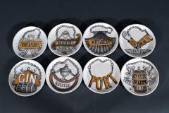 Piero Fornasetti Piero Fornasetti Set of Eight Vini E Liquori Barware Coasters with Original Box - 1614246