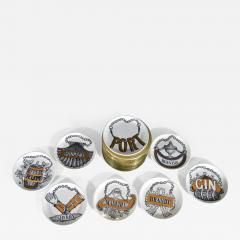 Piero Fornasetti Piero Fornasetti Set of Eight Vini E Liquori Barware Coasters with Original Box - 1618367