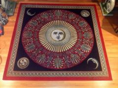 Piero Fornasetti Red Gold Black and Cr me Sun Moon Designed Rug - 104251