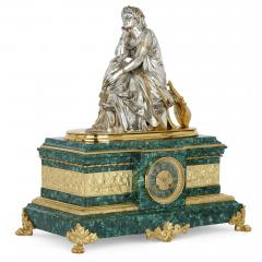 Pierre Alexandre Schoenewerk French ormolu and silvered bronze mounted malachite three piece clock set - 2022784