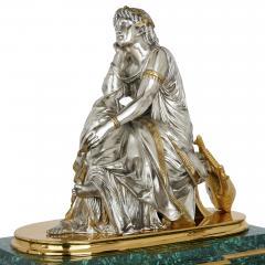 Pierre Alexandre Schoenewerk French ormolu and silvered bronze mounted malachite three piece clock set - 2022785