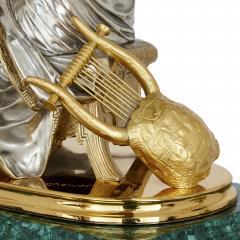 Pierre Alexandre Schoenewerk French ormolu and silvered bronze mounted malachite three piece clock set - 2022786