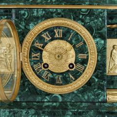 Pierre Alexandre Schoenewerk French ormolu and silvered bronze mounted malachite three piece clock set - 2022787