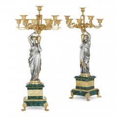 Pierre Alexandre Schoenewerk French ormolu and silvered bronze mounted malachite three piece clock set - 2022793