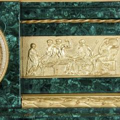 Pierre Alexandre Schoenewerk French ormolu and silvered bronze mounted malachite three piece clock set - 2022797