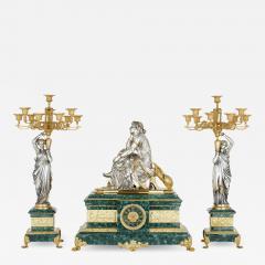 Pierre Alexandre Schoenewerk French ormolu and silvered bronze mounted malachite three piece clock set - 2023931