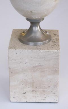Pierre Barbier A Good French Pierre Barbier Polished Travertine and Chrome Lamp - 105924