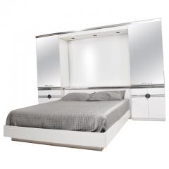 Pierre Cardin 1970s late designer PIERRE CARDIN Mirrored Bedroom Set Ensemble White Chrome - 2016018