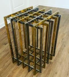 Pierre Cardin PIERRE CARDIN GEOMETRIC CHROME AND BRASS CAGE DINING TABLE - 1684521
