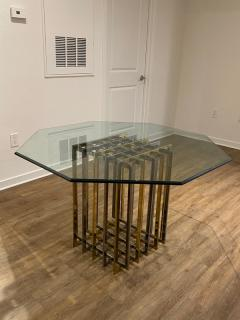 Pierre Cardin PIERRE CARDIN GEOMETRIC CHROME AND BRASS CAGE DINING TABLE - 1684522