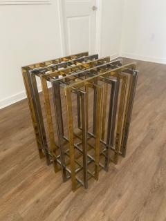 Pierre Cardin PIERRE CARDIN GEOMETRIC CHROME AND BRASS CAGE DINING TABLE - 1684524