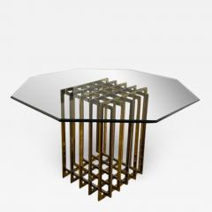 Pierre Cardin PIERRE CARDIN GEOMETRIC CHROME AND BRASS CAGE DINING TABLE - 1693434