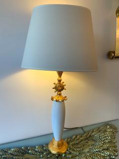 Pierre Casenove Pair of Sun Lamps Ceramic Gilt Metal by Pierre Casenove for Fondica - 1206798