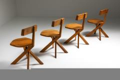 Pierre Chapo Chapo S34 Dining Chairs in Solid Elm 1960s - 1691723
