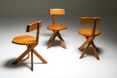 Pierre Chapo Chapo S34 Dining Chairs in Solid Elm 1960s - 1691725