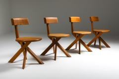 Pierre Chapo Chapo S34 Dining Chairs in Solid Elm 1960s - 1691732