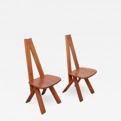 Pierre Chapo One Pair of Two Pierre Chapo S45 Chairs in Solid Elm - 526394