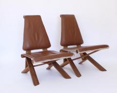 Pierre Chapo PIERRE CHAPO PAIR OF S46 DROMADAIRE CHLACC AND LEATHER LOUNGE CHAIRS - 1955225