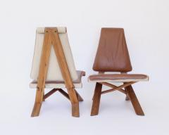 Pierre Chapo PIERRE CHAPO PAIR OF S46 DROMADAIRE CHLACC AND LEATHER LOUNGE CHAIRS - 1955227