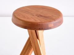 Pierre Chapo Pair of Pierre Chapo S31 Stools in Solid Elm Chapo Creation France - 2091161