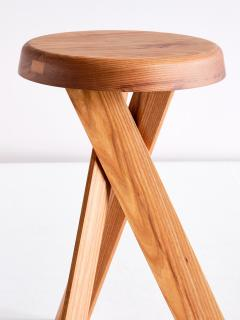 Pierre Chapo Pair of Pierre Chapo S31 Stools in Solid Elm Chapo Creation France - 2091164