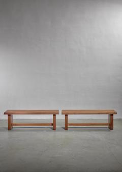 Pierre Chapo Pair of Pierre Chapo elm benches France 1960s - 1057518