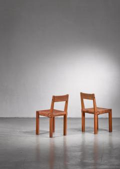 Pierre Chapo Pierre Chapo Set of Four Elm and Leather Dining Chairs - 1702266