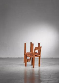 Pierre Chapo Pierre Chapo Set of Four Elm and Leather Dining Chairs - 1702268