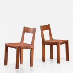Pierre Chapo Pierre Chapo Set of Four Elm and Leather Dining Chairs - 1704656