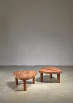 Pierre Chapo Pierre Chapo pair of small triangular coffee tables - 1554919