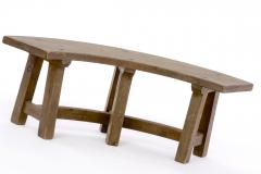 Pierre Chapo Pierre Chapo style brutalist organic complete dinning set with round benches - 1649051