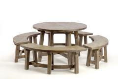 Pierre Chapo Pierre Chapo style brutalist organic complete dinning set with round benches - 1649057